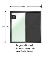 3G ประตูบานเลื่อนสลับ SS (PS) 200 cm. x  205 cm. สีดำเงา พร้อมมุ้ง Prime