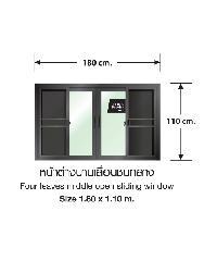 3G  หน้าต่างอลูมิเนียมบานเลื่อน 180x110ซม. สีดำเงา พร้อมมุ้ง FSSF (PS)