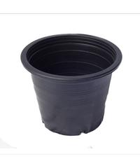 กระถางพลาสติกดำปากตรง 6 นิ้ว ดำ