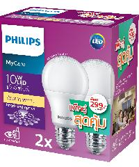 PHILIPS หลอดแอลอีดี APR แพ็คคู่ LEDBulb 10W E27 3000K  สีขาว