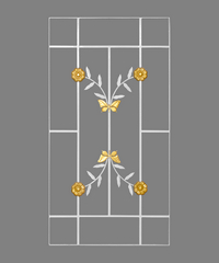 A-Plus เหล็กดัดลายดอกไม้จีน 0.60x1.10 W1005 ขาว