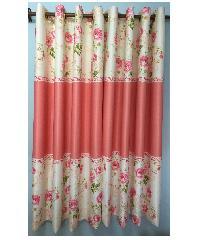 ผ้าม่านหน้าต่าง สีชมพู WD884-1 ขาว-ชมพู