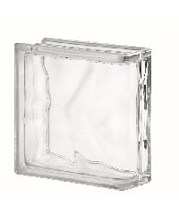 ช้างแก้ว บล็อกแก้วใส แก้วเมฆา (190x190x80mm)  ขอบโค้ง 1ด้าน