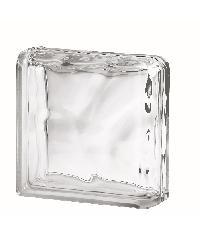 ช้างแก้ว บล็อกแก้วใส แก้วเมฆา ( 190x190x80mm)  ขอบโค้ง 2ด้าน