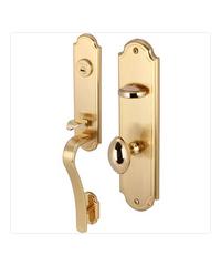 HAFELE มือจับประตูห้องทั่วไปพร้อมระบบล็อคสีทองเหลืองปัดด้าน 499.94.082 ทองเหลืองเงา
