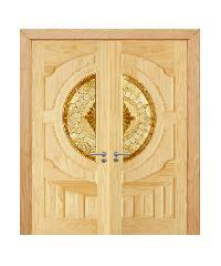 D2D ประตูไม้สนNz ลูกฟักพร้อมกระจก  80x200cm.  SET 2 D2D-417
