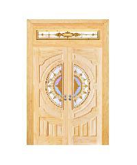 D2D ประตูไม้สนNz ลูกฟักพร้อมกระจก 80x200cm. SET 4 D2D-417