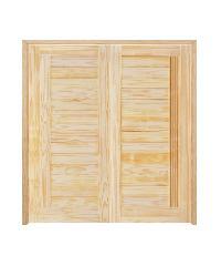 D2D ประตูไม้สนNz บานทึบทำร่อง ขนาด 80x220cm. SET 2 D2D-511