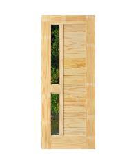 D2D ประตูไม้สนNz ทำร่องพร้อมช่องกระจก  90 x 200cm.   D2D-408