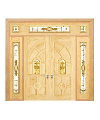 D2D ประตูไม้สนNz ลูกฟักพร้อมกระจก  90x200cm. SET 5 D2D-416