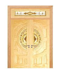 D2D ประตูไม้สนNz ลูกฟักพร้อมกระจก ขนาด 90x200cm. SET 4 D2D - 417