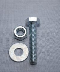 uheng สกรูน็อตแหวน ขนาด 3/8นิ้วx3-1/2นิ้ว (4ชิ้น/แพ็ค) ซิงค์ขาว