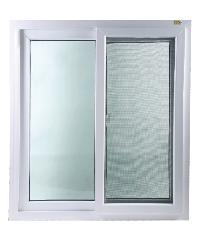 Hoffen หน้าต่างบานเลื่อนคู่ UPVC plus มุ้ง ขนาด 120 X 110 cm Trendy สีขาว