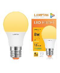 LAMPTAN หลอดไฟแอลอีดีบับ ไบรท์ 8 วัตต์ แสงวอร์มไวท์ Bright สีขาว