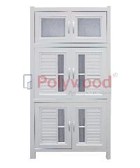 Polywood ตู้กับข้าว  2.5 ชั้น (1 ตู้สั้น - 2 ตู้คู่)  M-Series ABS Model 1-A สีขาว