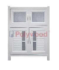 Polywood ตู้กับข้าว  1.5 ชั้น (1 ตู้สั้น - 1 ตู้คู่) M-Series Model 3-A   สีขาว