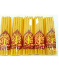 ศรัทธาธรรม เทียนหนักบาท 9เล่ม/แพ็ค สีเหลือง - สีเหลือง