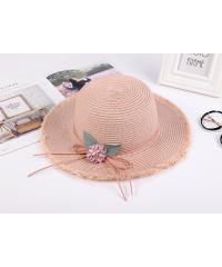 USUPSO หมวก  flowers straw สีชมพู -