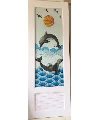 Wellingtan ประตูพีวีซี พิมพ์ลายปลา  70x200cm.  INKJT-004  สีขาว