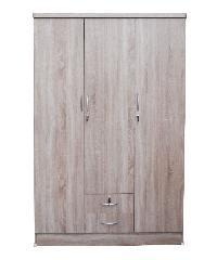 SF ตู้เสื้อผ้า 4 ฟุต ไม่มีชั้น (ประตู3บาน-นอกสองลิ้นชัก)  W-07-NEW พรีเมียร์โอ๊ค