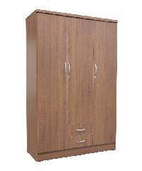 SF ตู้เสื้อผ้า 4 ฟุต ไม่มีชั้น (ประตู3บาน-นอกสองลิ้นชัก) สีดาร์คโอ๊ค W-07-NEW