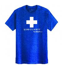 Global house เสื้อยืดคอกลมแขนสั้น Free Size  สกรีน Safety First สีน้ำเงิน