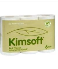 Kimsoft กระดาษชำระม้วนเล็ก  2ชั้น9.6cm.x17.6m. (6ม้วน/แพ็ค)