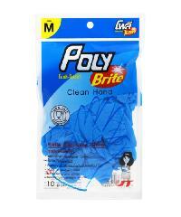 POLY-BRITE ถุงมือยาง Size M  ( 5คู่/ซอง)  ไนไตร
