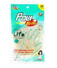 POLY-BRITE ถุงมือยางอนามัย  Size M  (5คู่/ซอง)    Extra Thin Lite