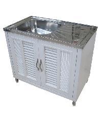 CLOSE ตู้พร้อมซิงค์ล้างจานสเตนเลส 1 หลุมมีที่พัก ขนาด 89x51x80 ซม.  Blanco 12 สีขาว