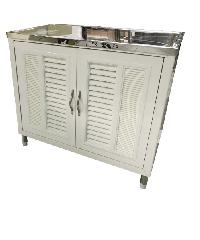 CLOSE ตู้พร้อมท๊อบสเตนเลสหน้าเรียบ ขนาด 89x51x80 ซม. Blanco 13 สีขาว