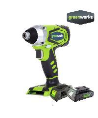 GREENWORKS สว่านกระแทก ขนาด 24V พร้อมแบตเตอรี่และแท่นชาร์จ   32047