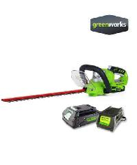 GREENWORKS  เครื่องเล็มพุ่มไม้ ขนาด 24V พร้อมแบตเตอรี่และแท่นชาร์จ  GWS0002