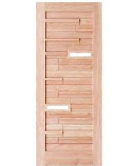 D2D ประตูไม้ดักลาสเฟอร์ ทำร่องพร้อมกระจก 100x220cm. D2D  Eco Pine-034Plus