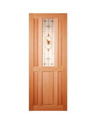 Masterdoors ประตูกระจกไม้สยาแดง ขนาด 80 x 200 cm.  SS01/2  ธรรมชาติ
