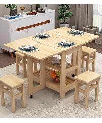 Delicato ชุดโต๊ะอาหารพับได้ 4ที่นั่ง 80x120x75cm  S-02A