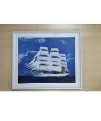 พรธิสารเฟรม ภาพเรือสำเภาไม้เว้า 16x20 สีขาว