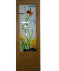 OK ประตูไวนิลกระจก กระจกเพ้นลายปลา 2 ตัว พร้อมวงกบ ขนาด 70x200 ซม.   **ไม่เจาะ** U04  สีสักทอง