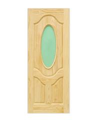 D2D ประตูไม้สนนิวซีแลนด์ ขนาด 90x220cm. D2D-402 น้ำตาลอ่อน