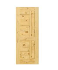 D2D ประตูไม้สนนิวซีแลนด์ ขนาด  90x207 cm. Eco Pine-007 น้ำตาลอ่อน