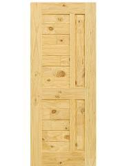 ประตูไม้สนนิวซีแลนด์ ขนาด  90x207 cm. Eco Pine-007 น้ำตาลอ่อน