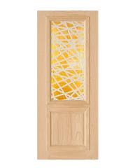 D2D ประตูไม้สนนิวซีแลนด์ ขนาด 80x200 cm.  D2D-602 น้ำตาลอ่อน