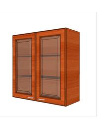 MJ ตู้แขวนบานกระจกตรงใส W808GL-CH เชอร์รี่