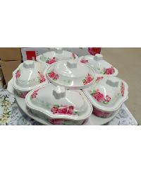 NO Brand  ชุดจานเมลามีนโรส ลายดอกไม้สีขาวแดง 6207