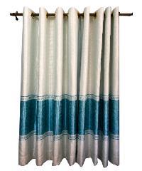 BALEENA ผ้าม่านประตู (150x250ซม.)  CLASSIC สีขาว-ฟ้า