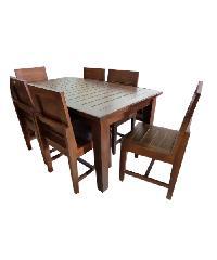 Global house ชุดโต๊ะอาหารไม้สักทอง 6 ที่นั่ง TC-2/6
