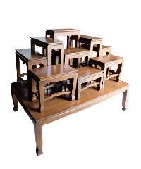 Global house โต๊ะหมู่บูชาไม้สักทองเรียบ หมู่9 หน้า9 นิ้ว MG-9/9 สักทอง