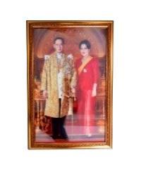 พรธิสารเฟรม ภาพรัชกาลที่9-ราชินี กรอบทองลายเคลือบฟิล์ม 15x20