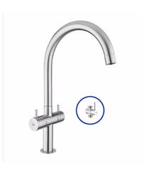 VRH ก๊อกน้ำดื่มน้ำใช้ ตั้งพื้น พร้อม STOP VALVE Duo HFVSB-100252 สแตนเลส