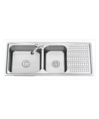TECNOGAS อ่างล้างจาน 2 หลุม 1ที่พัก Sink TNS 211200 SS สแตนเลส
